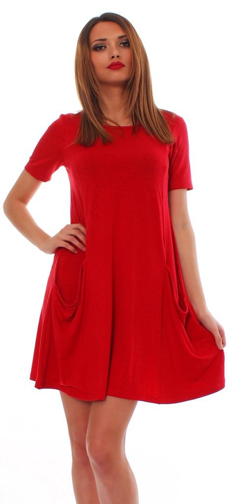 Damen Minikleid Longshirt Kleid langarm kurzarm mit ...