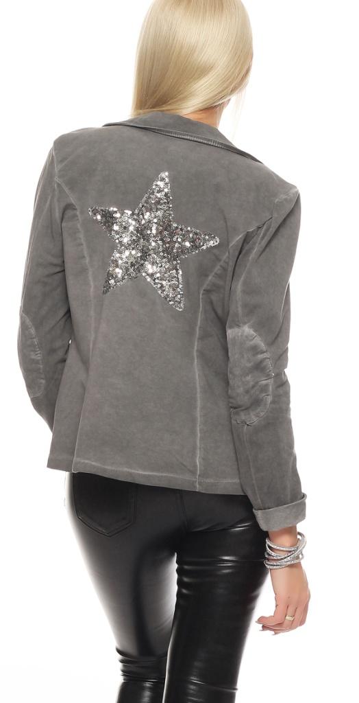 shirtella damen blazer sweatblazer stern glitzer patch