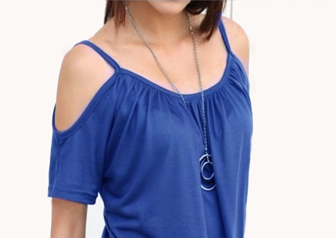Damen-Tshirt-T-Shirt-Longshirt-Bluse-Top-Traeger-schulterfrei-Baumwolle-36-38-40