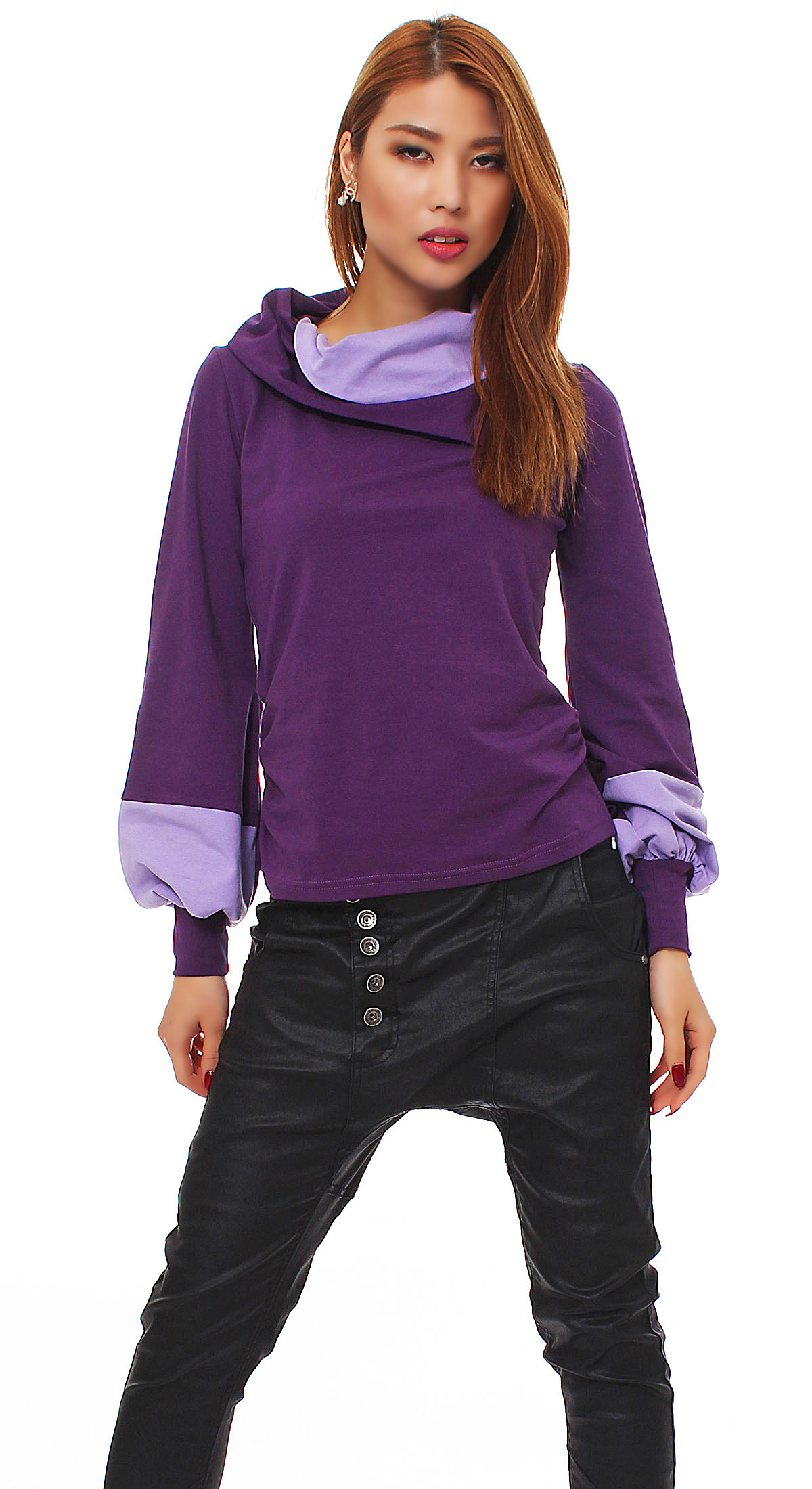 damen longshirt pullover bluse shirt tunika pulli langarm baumwolle ballon rmel ebay. Black Bedroom Furniture Sets. Home Design Ideas