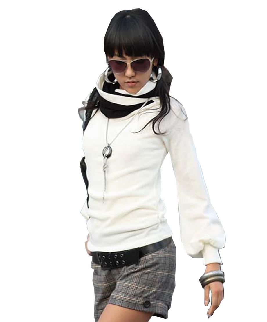 Damen-Bluse-Langarmshirt-Longshirt-Tunika-Pulli-Rollkragen-Ballon-Armel-S-M-L
