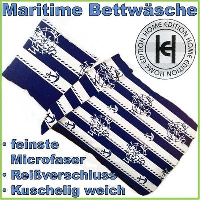 maritime bettw sche mit reisverschluss 135 x 200 mikrofaser mit anker kompass ebay. Black Bedroom Furniture Sets. Home Design Ideas