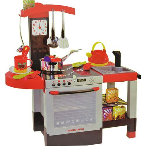 Kinderkueche-Spielkueche-Kueche-Spieltisch-mit-Zubehoer-Sound-Geschirr-kochen-NEU