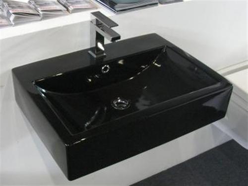 steiger black 45cm waschtisch waschbecken schwarz ebay. Black Bedroom Furniture Sets. Home Design Ideas