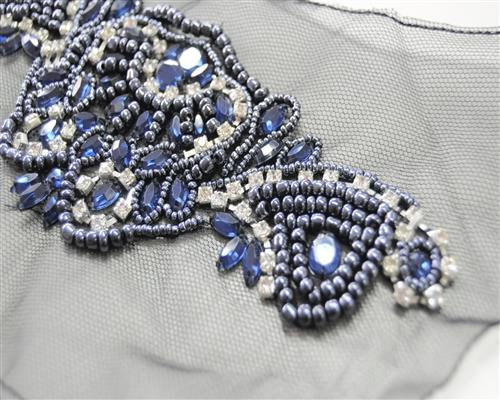 edel strass perlen applikation glas blau handgefertigt zum. Black Bedroom Furniture Sets. Home Design Ideas