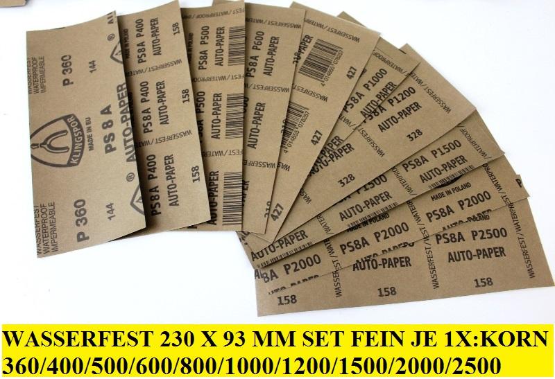10 Streifen Mix Wasserfestes Schleifpapier SiCa PS8C 230x93mm Korn P360-2500