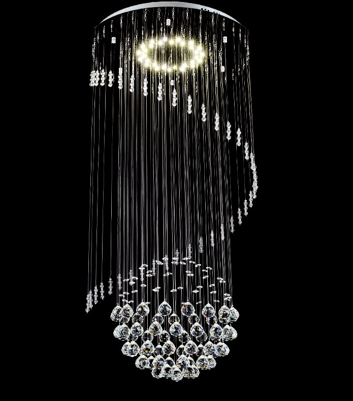 orseo galass l led cristal pendule lampe luminaire suspendu lustre lustre ebay. Black Bedroom Furniture Sets. Home Design Ideas