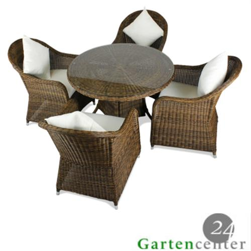 poly rattan gartenm bel 4 personen tisch set teakholz essgruppe dunkelbraun fsc ebay. Black Bedroom Furniture Sets. Home Design Ideas