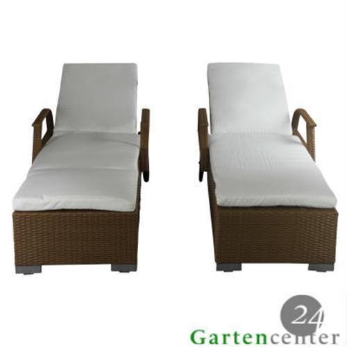 2x liegen gartenliege sonnenliege rattanliege lounge polyrattan liege 6028 sand ebay. Black Bedroom Furniture Sets. Home Design Ideas