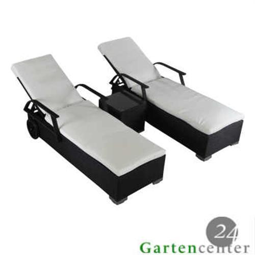 2x sonnenliege rattanliege gartenliege polyrattan liege 6028 mit tisch braun ebay. Black Bedroom Furniture Sets. Home Design Ideas
