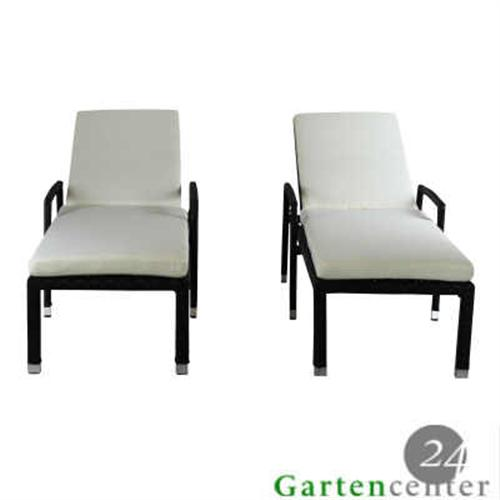 2x sonnenliege gartenliege polyrattan liege saunaliege rattan 6029 braun glatt ebay. Black Bedroom Furniture Sets. Home Design Ideas