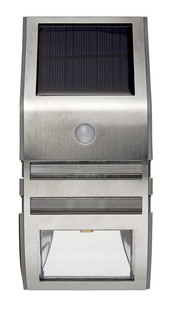 led solar wandlampe edelstahl warmwei e leds bewegungsmelder 50 lumen top ebay. Black Bedroom Furniture Sets. Home Design Ideas