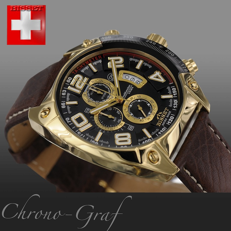 bisset herren uhr chronograph gold lederarmband braun bscc79gmbx swiss made ebay. Black Bedroom Furniture Sets. Home Design Ideas
