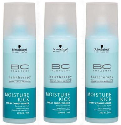 SCHWARZKOPF BC BONACURE Moisture Kick Spray Conditioner 3x 200ml = 600ml