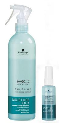 SCHWARZKOPF BC BONACURE Moisture Kick Spray Conditioner 400ml + Reisegröße 50ml
