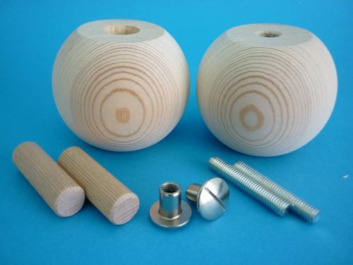 Set Holzfüße - Möbelfüße - Kugelfüße - 80/65 mm Holzart wählbar