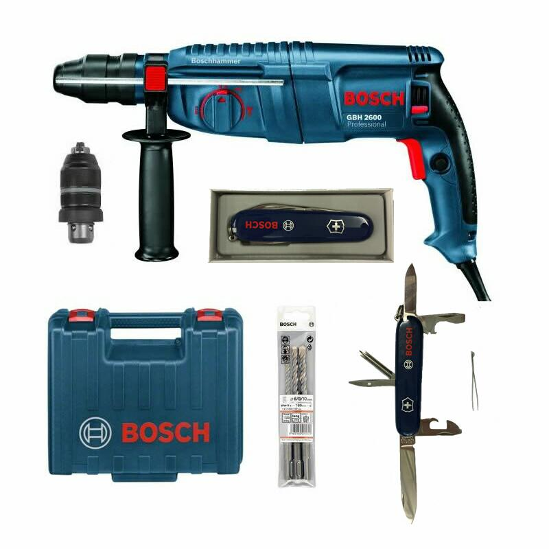 bosch gbh 2600 inkl bohrer set bosch victorinox schweizer messer bohrhammer ebay. Black Bedroom Furniture Sets. Home Design Ideas