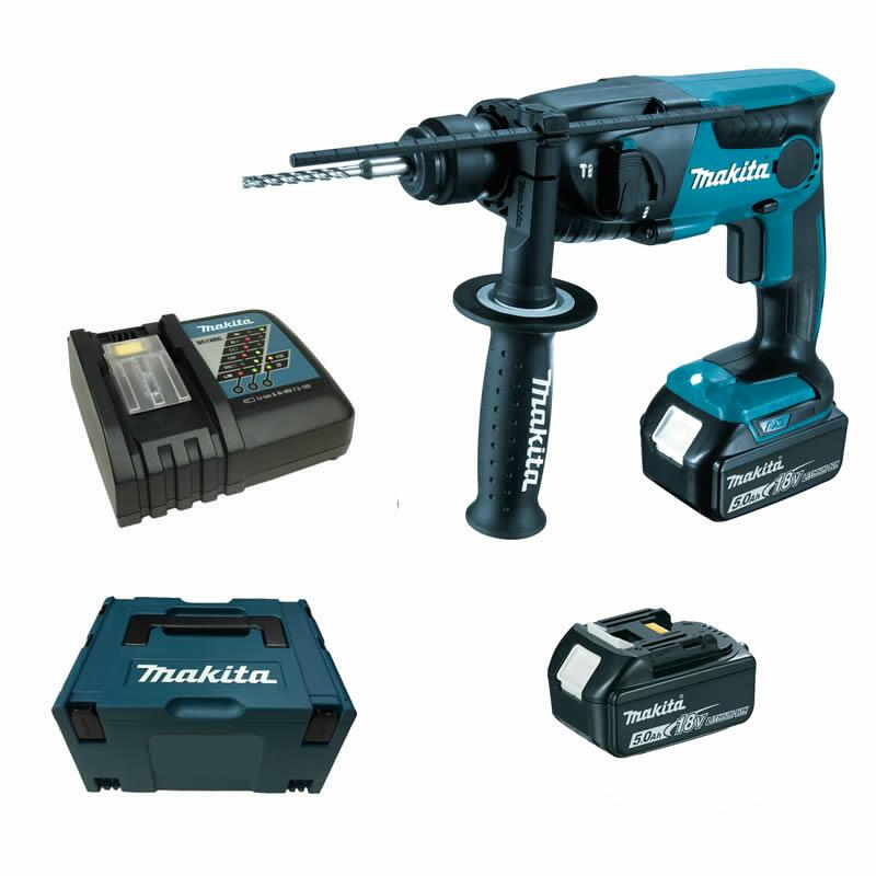 makita dhr165rtj dhr165 rtj 2 x 5 0 ah akku bohrhammer 18v ebay. Black Bedroom Furniture Sets. Home Design Ideas