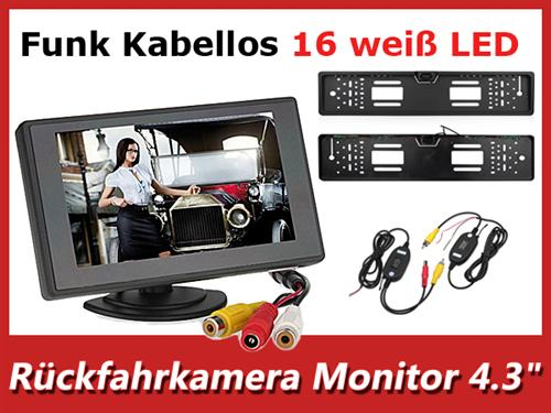 4 3 kabellos funk r ckfahrsystem monitor nummernschild r ckfahrkamera nachtsich ebay. Black Bedroom Furniture Sets. Home Design Ideas