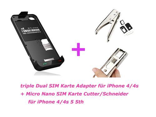 schwarz iphone 4 4s triple dual sim karten gsm micro. Black Bedroom Furniture Sets. Home Design Ideas