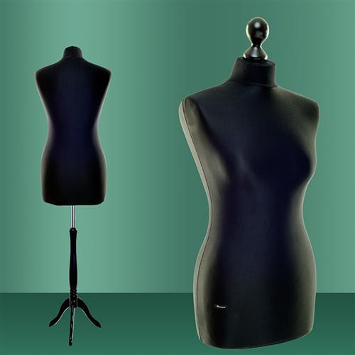 buste de couture mannequin femme 36 38 f4001 torse rev tement noir pied noir ebay. Black Bedroom Furniture Sets. Home Design Ideas