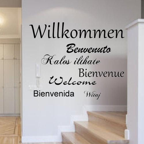 Wandtattoo willkommen international wohnzimmer flur - Wandtattoo dampflok ...