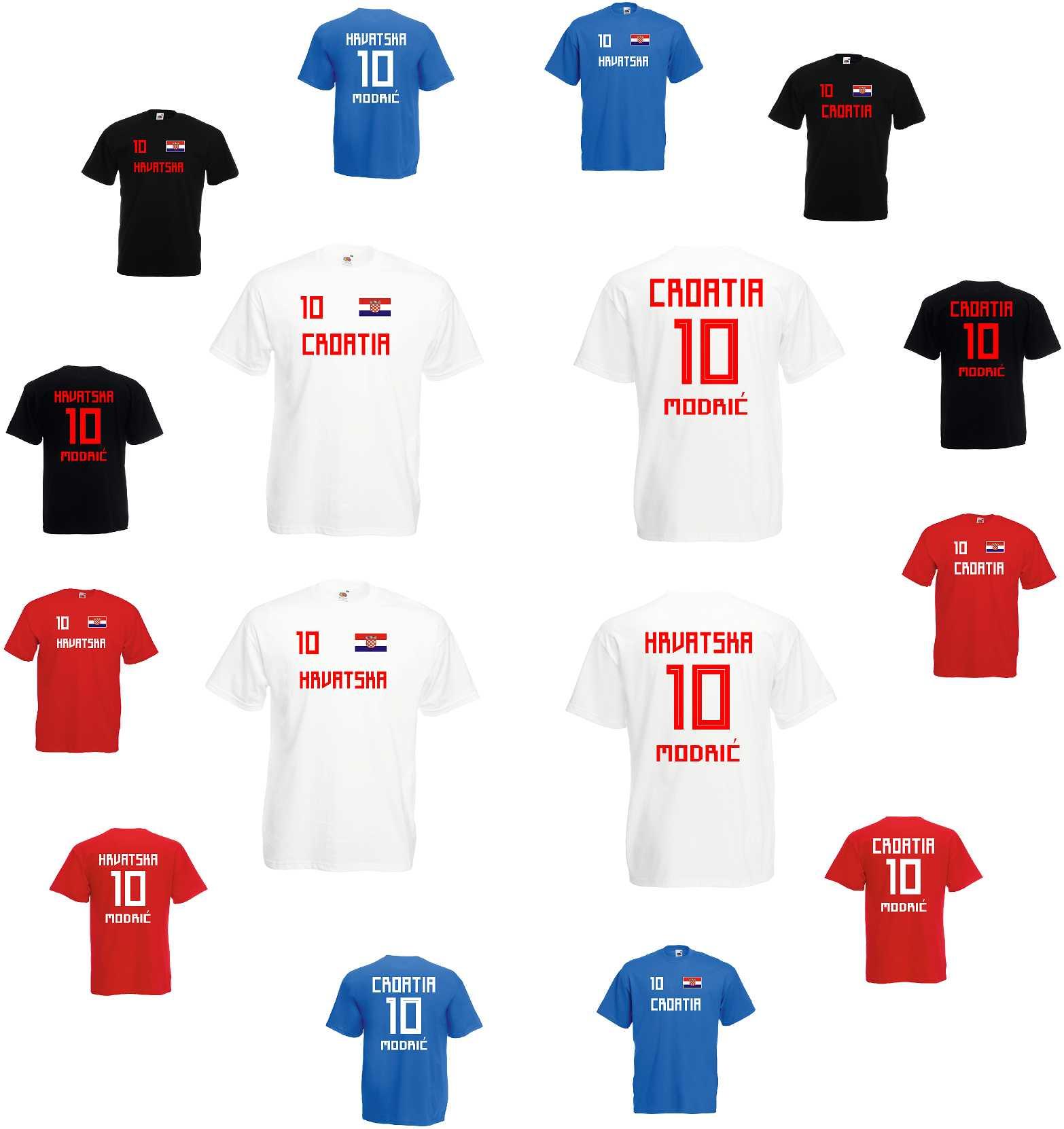 Lady T-Shirt Fussballshirt Croatia Kroatien mit Ihrem Wunschnamen bedruckt,