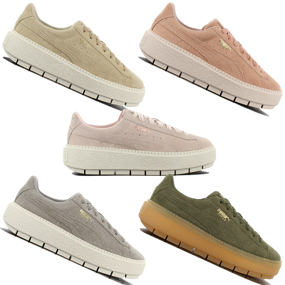 Details about Puma Platform Trace Women's Fashion Sneaker Leather Shoes Sneakers Basket New