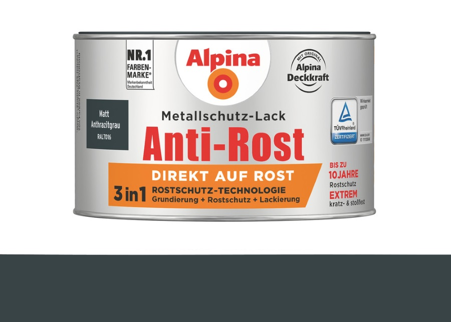 Alpina 300 ml Anti-Rost Metallschutz-Lack, 3in1, RAL 7016 Anthrazitgrau Matt