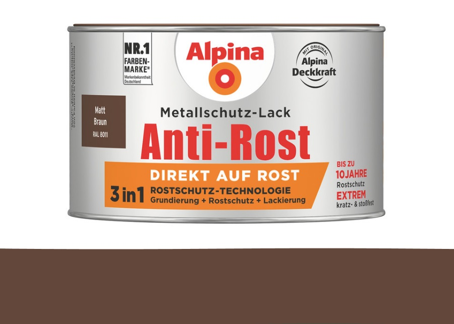 Alpina 300 ml Anti-Rost Metallschutz-Lack, 3in1, RAL 8011 Braun Matt