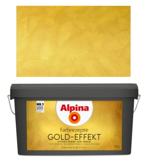 Alpina Wandfarbe Gold Effekt 4,1 L. samtig schimmernd, Basis & Finish