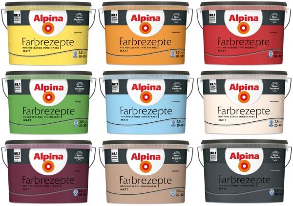 alpina wandfarbe farbrezepte hochdeckende farbe 2 5 l farbwahl matt 6 00 l. Black Bedroom Furniture Sets. Home Design Ideas