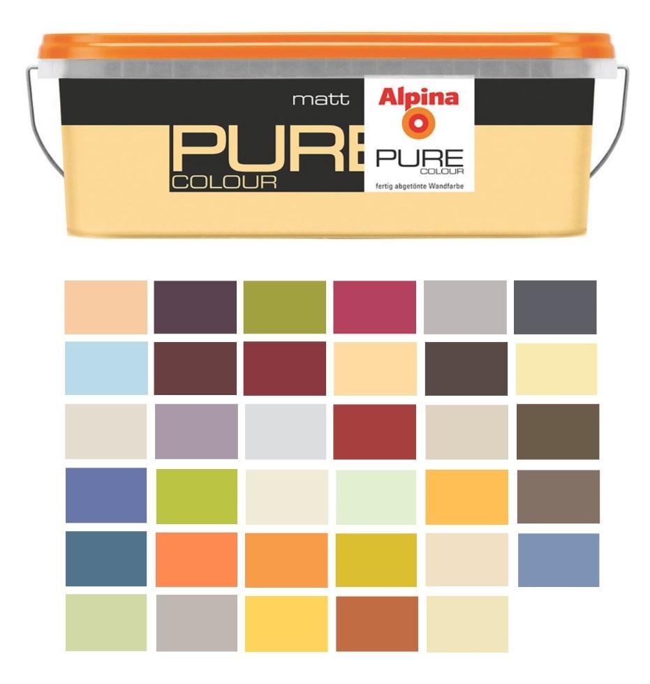 alpina pure colour, 2,5 liter bunte wandfarbe, verschiedene farbtöne