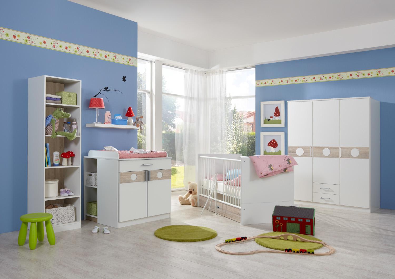 Babyzimmer Kimba in Weiß und Eiche Sägerau von Wimex 7 teiliges Superset