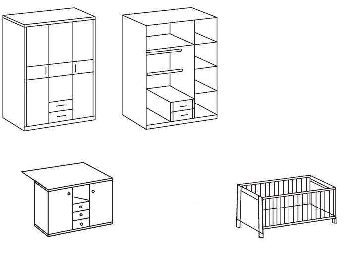 Möbel Direkt Babyzimmer : 3tlg babyzimmer komplett schrank babybett wickelkommode ~ Sanjose-hotels-ca.com Haus und Dekorationen