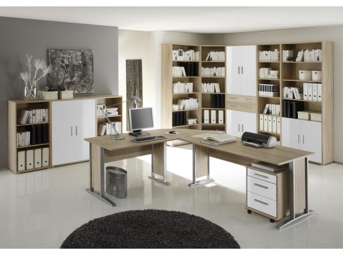 Buro Office Smart 10 Teilig Sonoma Weiss Buromobel Schreibtisch