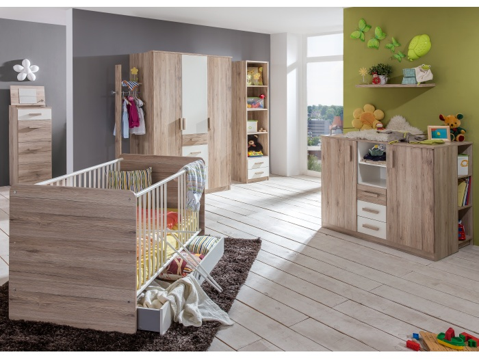 babyzimmer cariba 8 teile kleiderschrank babybett. Black Bedroom Furniture Sets. Home Design Ideas