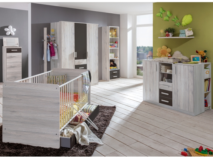 babyzimmer cariba 8 tlg wei eiche kleiderschrank babybett wickelkommode regal ebay. Black Bedroom Furniture Sets. Home Design Ideas