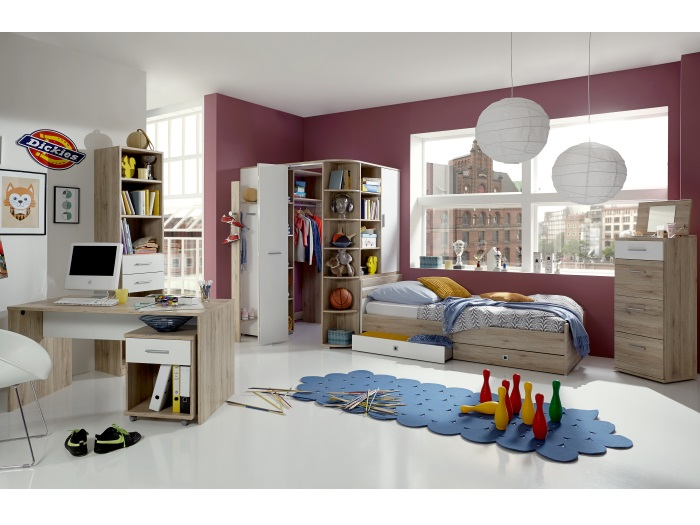 jugendzimmer joker 8tlg san remo begehbarer kleiderschrank bett 90x200cm 109780 ebay. Black Bedroom Furniture Sets. Home Design Ideas