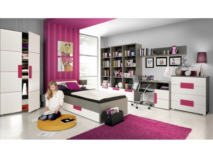 jugendzimmer libelle 9tlg kinderzimmer m bel set bett 90x200 cm schrank 109869 ebay. Black Bedroom Furniture Sets. Home Design Ideas