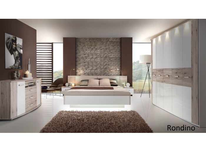 schlafzimmer rondino mit dreht renschrank inkl beleuchtung bett kommode 109882 ebay. Black Bedroom Furniture Sets. Home Design Ideas