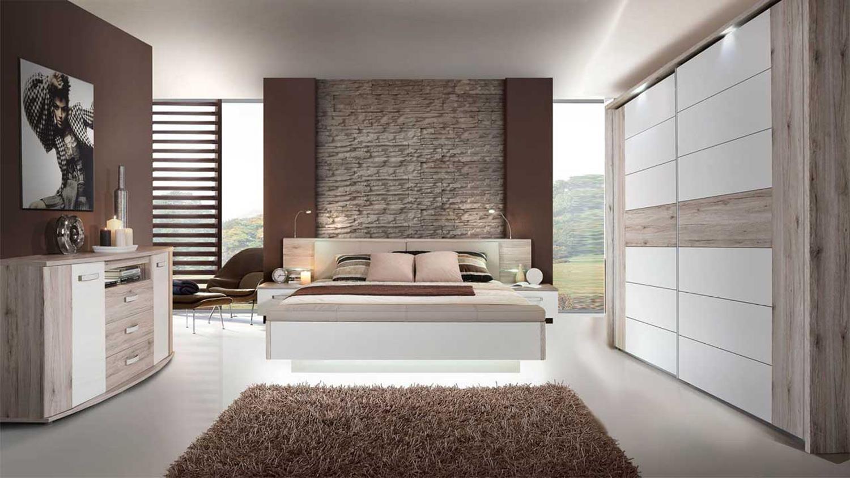 Details zu Schlafzimmer Rondino mit Schwebetürenschrank inkl Beleuchtung  Bett Kommode 13