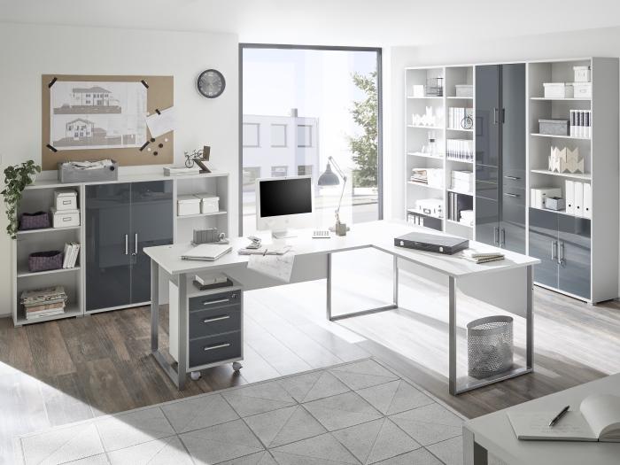 Büro Office Line Luxo 9 teilig Büromöbel Komplettset Schreibtisch ...