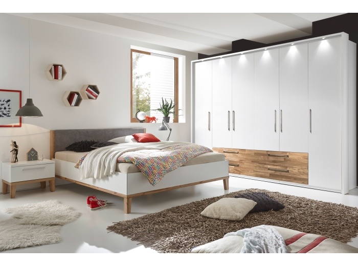schlafzimmer air komplett kleiderschrank mit led bett. Black Bedroom Furniture Sets. Home Design Ideas