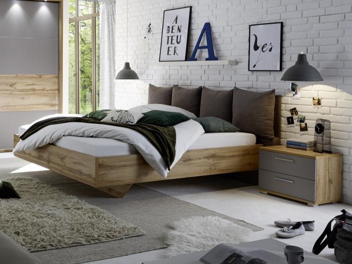 schlafzimmer delta komplett schwebet renschrank bett nachttische led 110234 ebay. Black Bedroom Furniture Sets. Home Design Ideas