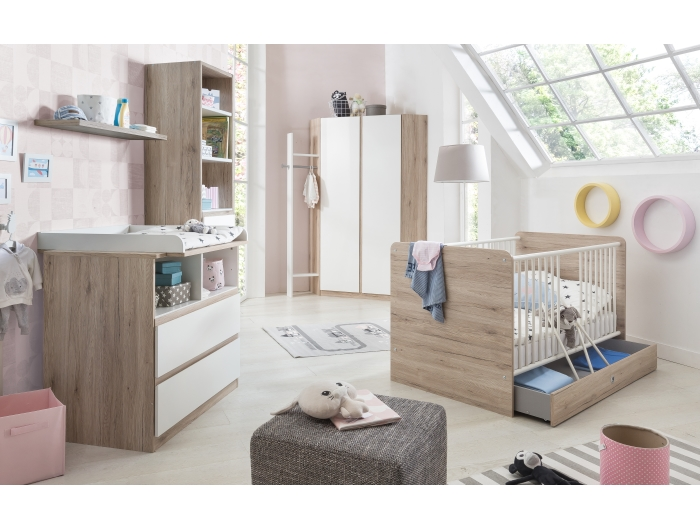 babyzimmer bianca 3tlg eckkleiderschrank babybett. Black Bedroom Furniture Sets. Home Design Ideas