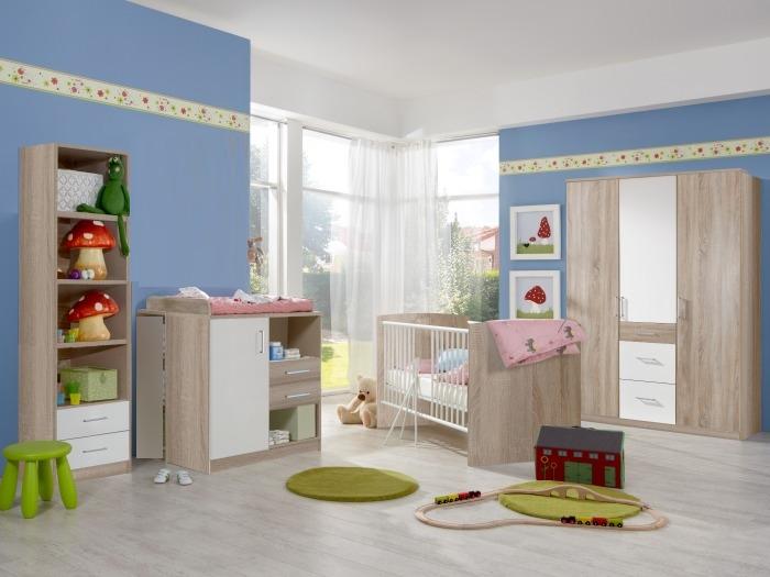 babyzimmer nicki 5 teilig mit 3trg schrank bett wickelkommode regal 110367 ebay. Black Bedroom Furniture Sets. Home Design Ideas