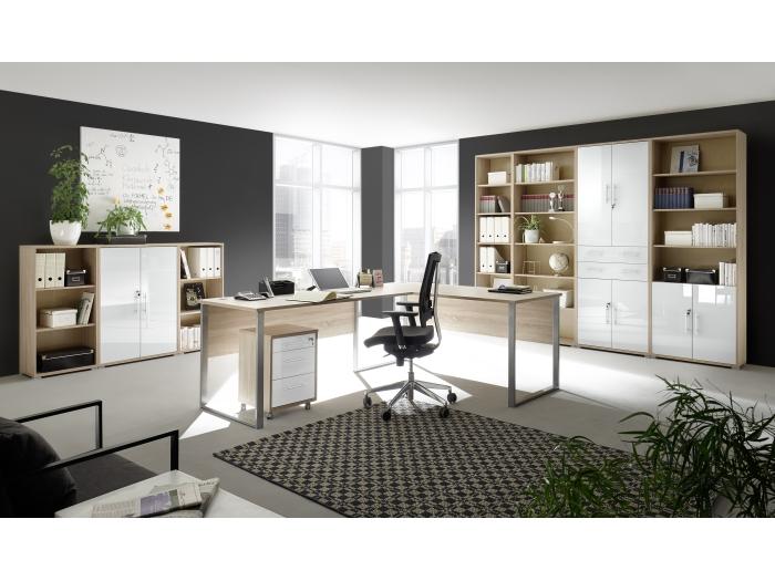Buromobel Office Line Luxo 9 Teilig Sonoma Weissglas Megaset