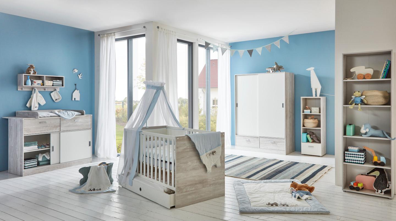 Babyzimmer Justus in Vintage Pinie Grau und Weiß mit MATRATZE