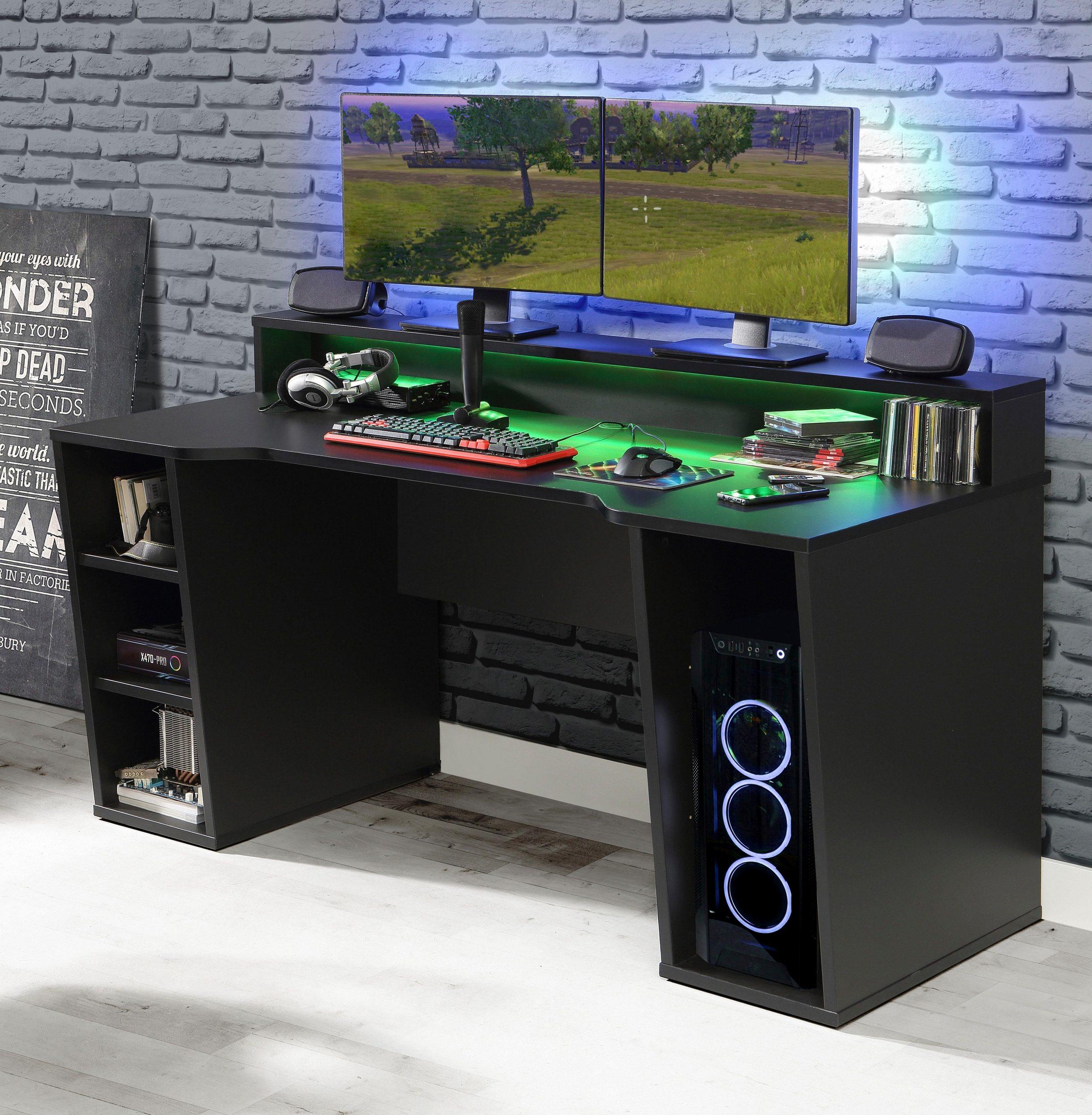 FORTE Gamingtisch Tezaur mit RGB-Beleuchtung